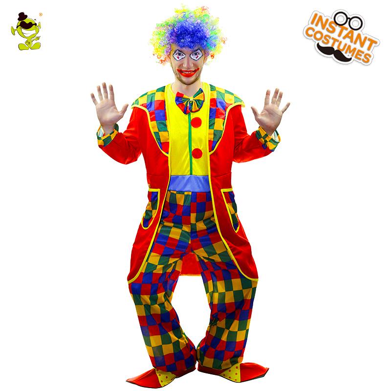 Deluxe funny circus clown costumes adult magic show halloween costume clown suit for Vendetta mask party joker Role Play Dress halloween costumes clown dressed up acting cute nose red