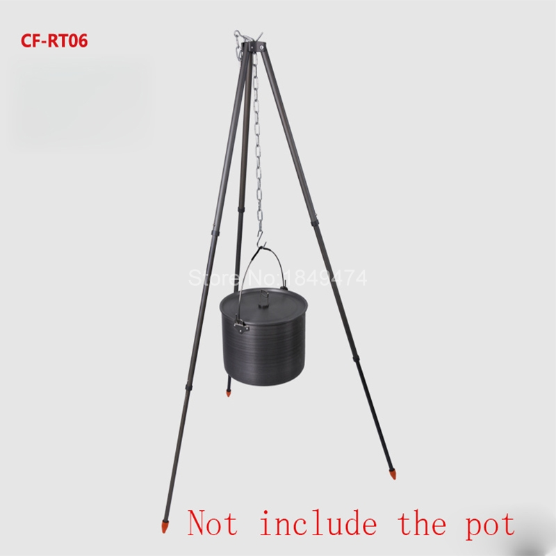 Alocs Outdoor Camping Tripod Frame Shelf Portable Picnic Cooking Tripod Hanging Pot Campfire Grill Stand with Bag CF-RT06 hot sale 105cm outdoor camping picnic cooking hook tripod hanging pot holder