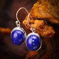 925 sterling silver  inlaid natural lapis lazuli  female models earrings