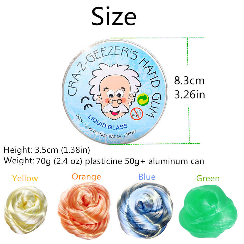 DIY Playdough Creative Hand Gum Container Glitter Clear Slime Bright Light Clay 4 Colors Transparent Toys Kids Putty Gifts Kit