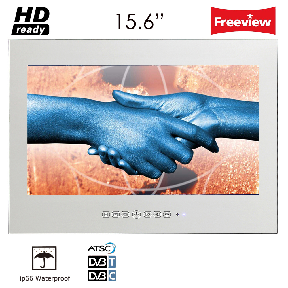 "Souria 15.6"" Magic Vanishing Magic Mirror Bathroom Waterproof LED DTV TV with DVB-T FreeView USB Wall Mount Screen LCD TV"