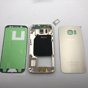 Image 2 - Voor Samsung Galaxy S6 Rand G925 G925F Midden Frame Volledige Behuizing Chassis Batterij cover Glas + Midden Frame S6 G920 g920F