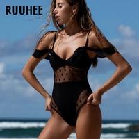 RUUHEE Brand Swimsuit Swimwear Bodysuit Women Sexy Mesh One Piece Push Up Bathing Suit Monokini Maillot
