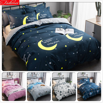 Blue Night Moon Star Sky Pattern Duvet Cover Kids Soft Skin Cotton 3pcs/4pcs Bedding Set Single Twin Full Queen Size 1.35m 1.5m