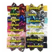 5 шт./партия, 5 ''разноцветные бант с повязка на голову из хлопка модные аксессуары для волос grosgrain ленты ошейник с бантиком