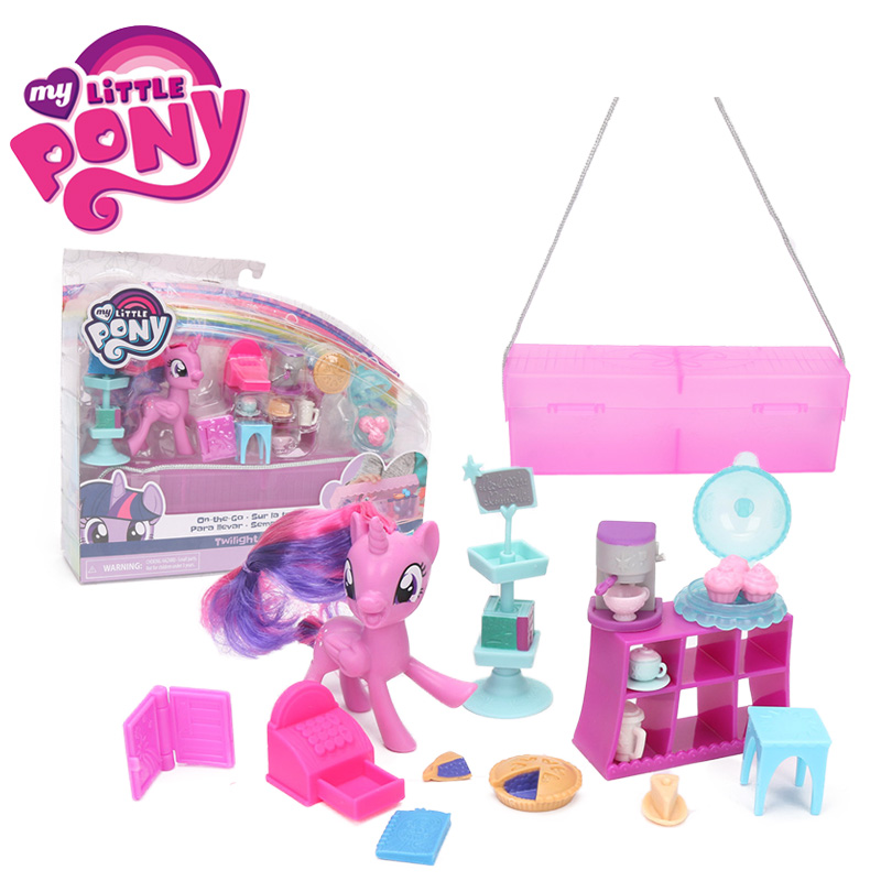 8cm My Little Pony Toys On the go Sur la trotte Twilight Sparkle Rarity PVC Action Figure Set with Store Carry Box Mini Pony Toy