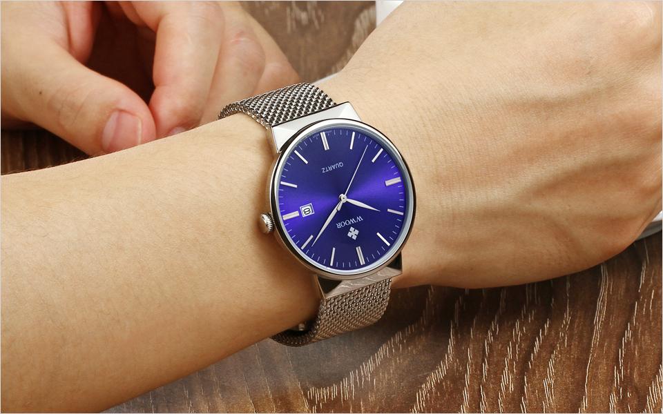 WWOOR Brand Luxury Men Waterproof Stainess Steel Casual Gold Watches Men's Quartz Sport Wrist Watch Male Clock relogio masculino 14