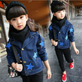 children outerwear 2017 baby jacket autumn  girl fashion denim coat kids long-sleeved jacket cowboy  jackets fashion star coat