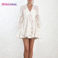 HANZANGL New 2019 Spring White Lace Dress Puff Sleeve V neck Embroidery Hollow Women Dress Casual Short Party Dresses Vestido