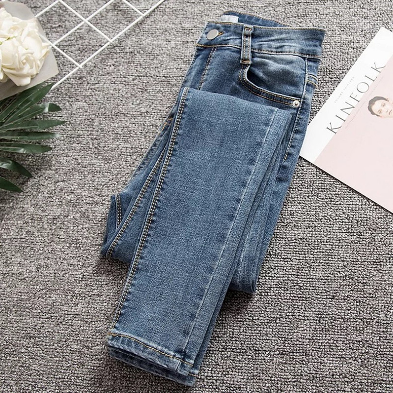 New Denim   Jeans   Woman 200 Pounds Fat MM Vintage Blue High Waist   Jeans   Plus Size 4XL Trousers Women Pencil   Jeans   Feminino C4349