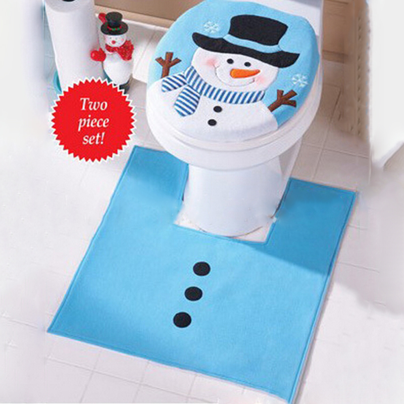 home christmas gifts snowman toilet seat cover and rug bathroom set