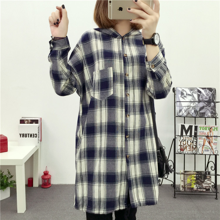 Brand Yan Qing Huan 2018 Spring Long Paragraph Large Size Plaid Shirt Fashion New Women's Casual Loose Long-sleeved Blouse Shirt 26