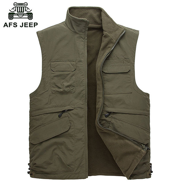 2015 Autumn Spring Casual Men Vest Coat Fleece CLOTHES Cotton Multi Pocket 4XL Cargo NEW Sleeveless Jackets Waistcoat Vests