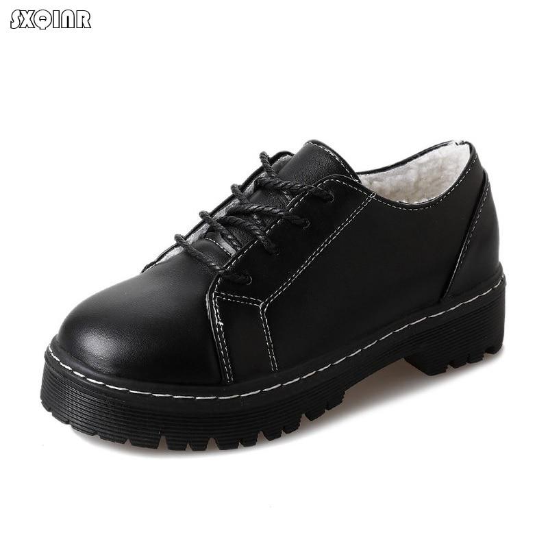 Oxford Plat Talon Cuir Printemps Lace Style Hiver Femmes Britannique Casual Souple Rétro Up En Appartements Chaussures Black De Derbies qt1ff