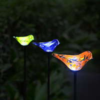 Blue Yellow Orange Glass Bird Solar panel LED Metal Light Landscape Garden Yard Path Lawn Solar Lamps Outdoor Grounding Sun Ligh