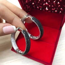 Hoops Earrings The Design is Made of Sterling Silver 925 rhodium plated Zirconium Fine Jewelry Full Colorful Stone