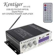 купить Car Audio Amplifier HY-V10 20W x 2 2CH HI-FI Bluetooth Car Audio Power Amplifier FM Radio Player SD USB DVD MP3 Input for Car онлайн
