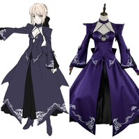Fate Stay Night Grand Order FGO Saber Alter Stage 3 Cosplay Costume Purple Dress Adult Girl Halloween Carnival
