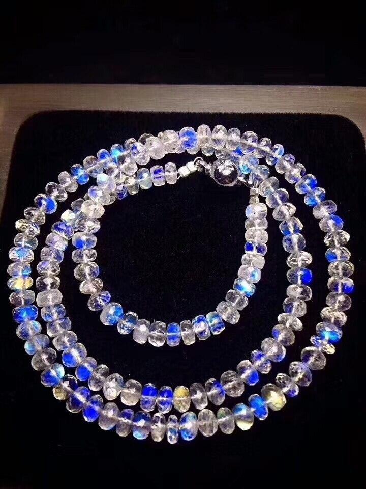 Véritables lumières bleues naturel pierre de lune Bracelets femmes femme extensible 6mm cristal boulier perles Bracelet collier AAAAAA