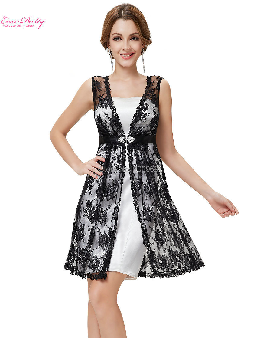 Short Lace Prom Dresses Ever Pretty Two Pieces Set Prom Short Dresses HE05113BK Clearance Sale ...