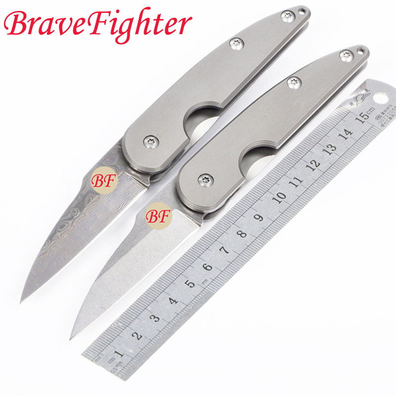 58-60HRC key chain knife D2 Stone wash or Damascus blade Titanium alloy handle Mini pocket folding knife EDC camp utility tool купить