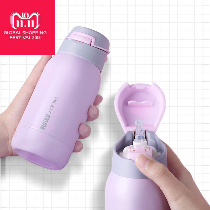Mini 260ml Strainless Steel Bottle thermos flask for kids one touch vacuum bottle Vacuum Flasks Thermos With Straw Sport