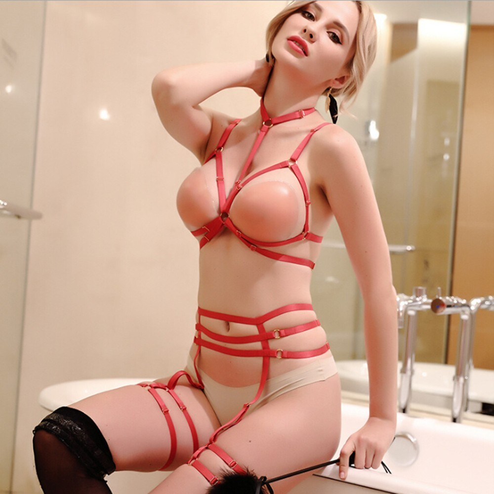 2019 New Fashion Adjustable Erotic Lingerie Body Bondage Belts Gothic Women Bust Belts For Women Open Bra Belts Basm Women Nylon