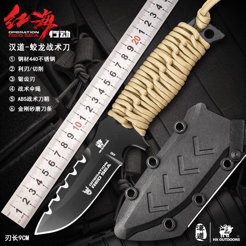 HX extérieur D-178 440C lame en acier poignée survie couteau fixe en plein air Camping Bushcraft couteau tactique bricolage outil à main avec Kydex