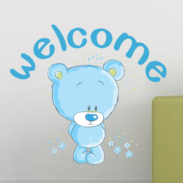 DIY Lovely Bear Home Decor Wall Stickers WELCOME Quotes Animal Kids Baby Rooms Decals Poster