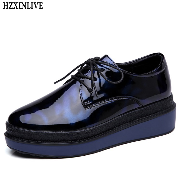 HZXINLIVE 2018 Women Flats Mirror Leather Oxford Shoes Ladies Casual Platform Shoes Female Fashion Moccasins Zapatos Mujer 8600 цены онлайн