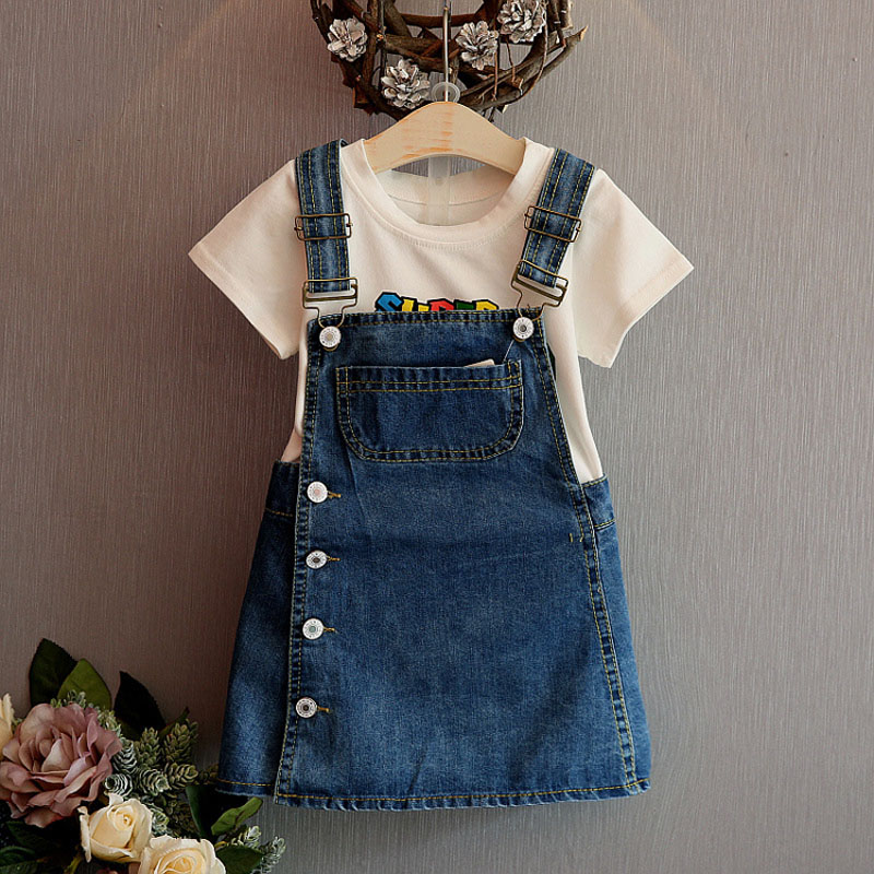 9e4cfd7ec3 1pcs Baby Girl Clothes Toddler Infant Denim Jean Casual Dress Button Bib Overalls  Outfits Children Girls Desses Clothing Sets