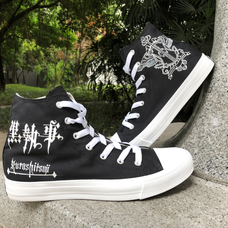 Wen Sewing Canvas Cloth Shoes Black Hand Painted Shoes Anime Design Black Butler Logo Graffiti Painting Mens Womens Plimsolls
