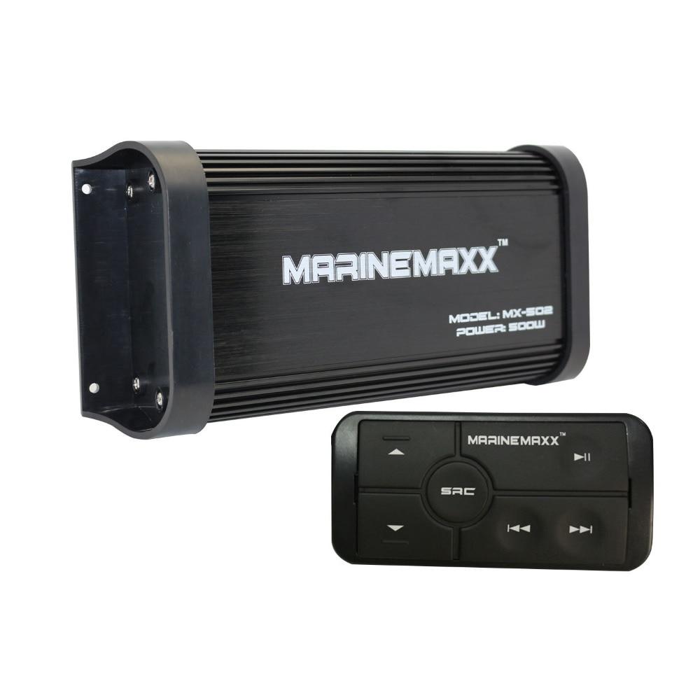 500 Вт 4-канальный водонепроницаемый мотоцикл Морская Лодка аудио усилитель Bluetooth стерео MP3 USB AUX RAC AUX вход с контроллером