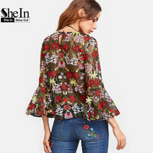 SheIn Fashion Blouse Womens Tops and Blouses Multicolor Three Quarter Length Flare Sleeve Flower Embroidered Mesh Top