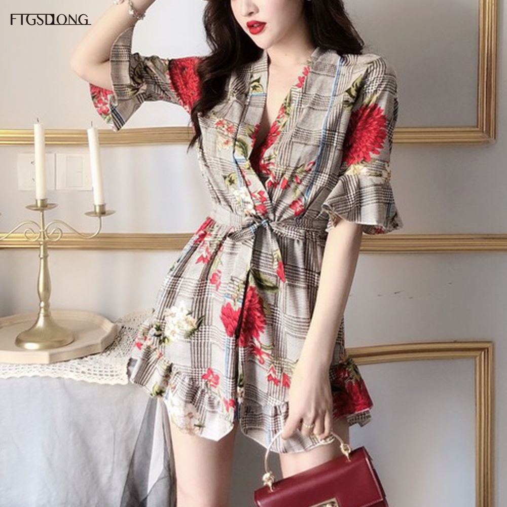 FTGSDLONG Summer Bohemian Rompers Women Casual Floral Printed Jumpsuit Ladies Ruffles Sexy V Neck Beach Playsuit Plaid Jumpsuits
