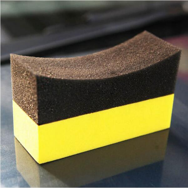 Satel CO.,LTD Car Cleaning 50pcs/lot Vacuum compressed sponge U-Shape Tire Wax Polishing Compound Sponge ARC Edge Sponge Tyre Brush