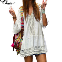 2017 Women Boho Summer Dress Ladies Sexy Lace Crochet Flare Sleeve V Neck Hollow Out Casual