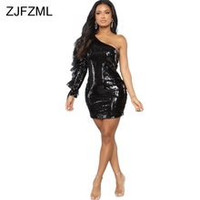 Sparkly Sequins One Shoulder Sexy Dress Women Black Mesh Patchwork Long  Sleeve Club Party Dress Elegant cba6519963c7
