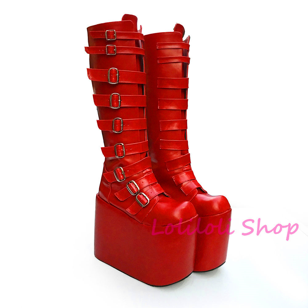 Princess sweet lolita shoes Lolilloliyoyo antaina Japanese design custom red high-top boots thick flat bottom 15cm heel 6602x цена