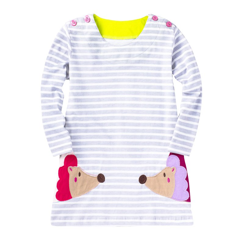 цены  Kids Clothes Girls Cartoon Dress Applique Cute Animal Embroidery Long Sleeve Dress Kids Princess Baby Girl Solid Dress New
