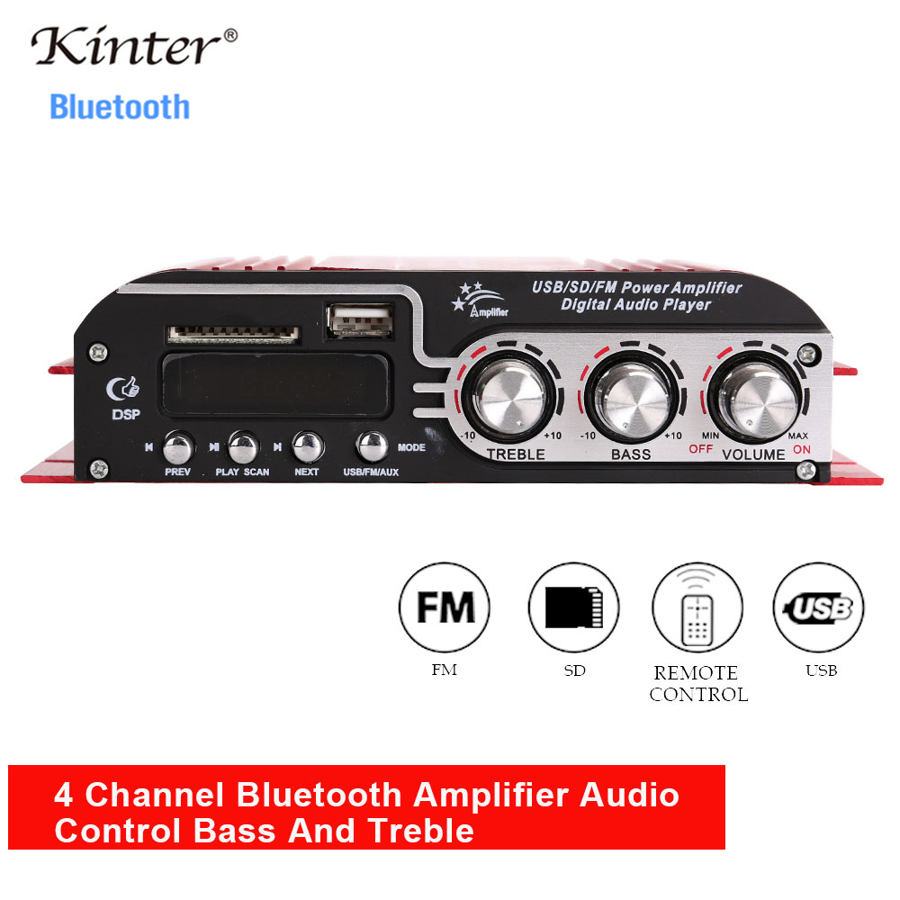 Kinter MA-500 Sound Amplifiers Audio 4 Channel For Speaker Hifi Stereo With SD USB Bluetooth FM Radio Control Bass Trelbe Volume