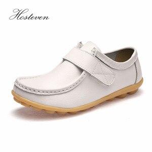Image 5 - Hosteven النساء حذاء رياضة الشقق جلد طبيعي عارضة المتسكعون الأحذية كعب منخفض الأخفاف الأحذية الصلبة كبيرة الحجم
