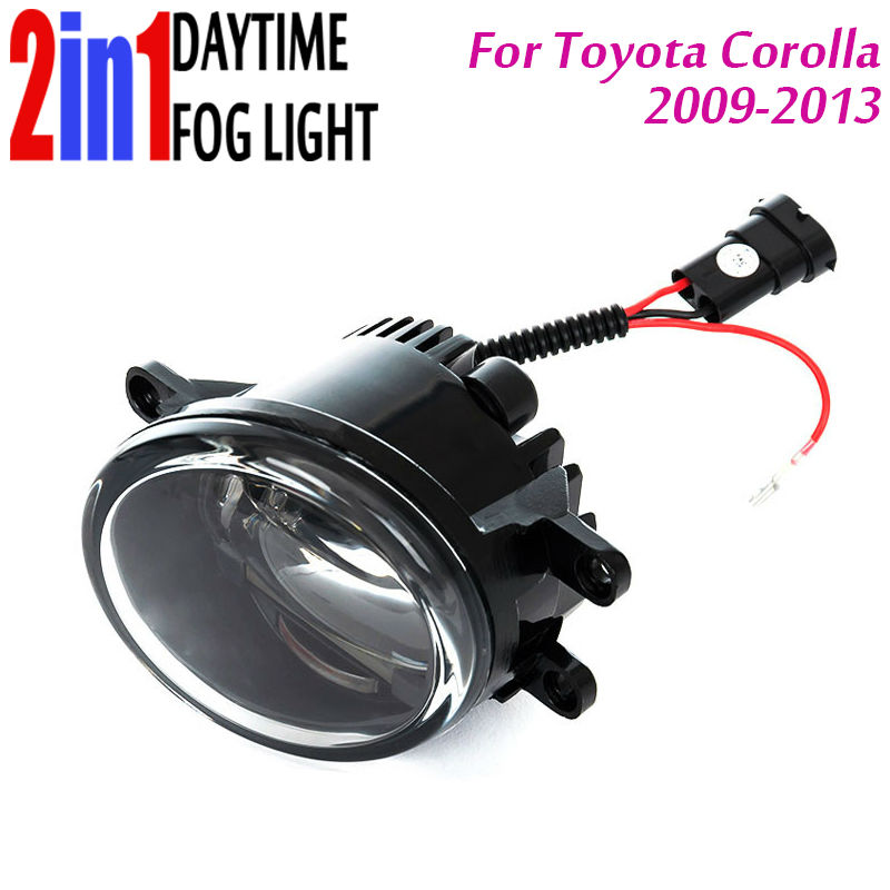 New Led Fog Light with DRL Daytime Running Lights with Lens Fog Lamps Car Styling Led Refit Original Fog for Toyota Corolla new led fog light with drl daytime running lights with lens fog lamps car styling led refit original fog for toyota venza