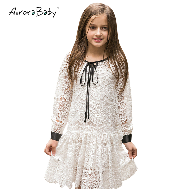 AuroraBaby Girls Lace Dresses For Autumn Summer Children's Clothes Kids Long Sleeved Princess Style Holiday Party Wedding Dress hot sale new autumn children wedding dress baby girls dresses kids striped bow long sleeved lace princess casual dress for party
