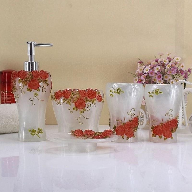 Gül bağı vanna otağı aksesuarları 5 parça qatran - Ev əşyaları - Fotoqrafiya 2