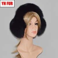 2019 ขายร้อนผู้หญิงรัสเซียฤดูหนาว Warm 100% ธรรมชาติ Fox Fur Earmuffs กลางแจ้งหรูหราของแท้ฟ็อกซ์ฟ็อกซ์หูหมวก