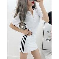 9482fec8e1 2019 Summer Dress Ladies Fashion Knit Cotton Casual Dress Zipper V Collar  Sleeves Side Striped Slim. 2019 lato panie sukienka moda ...