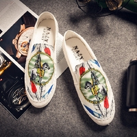 Personality Personality Printed Peas Shoes Footwear Korean Version Of Lazy Shoes A Pedal Breathable Canvas Driving