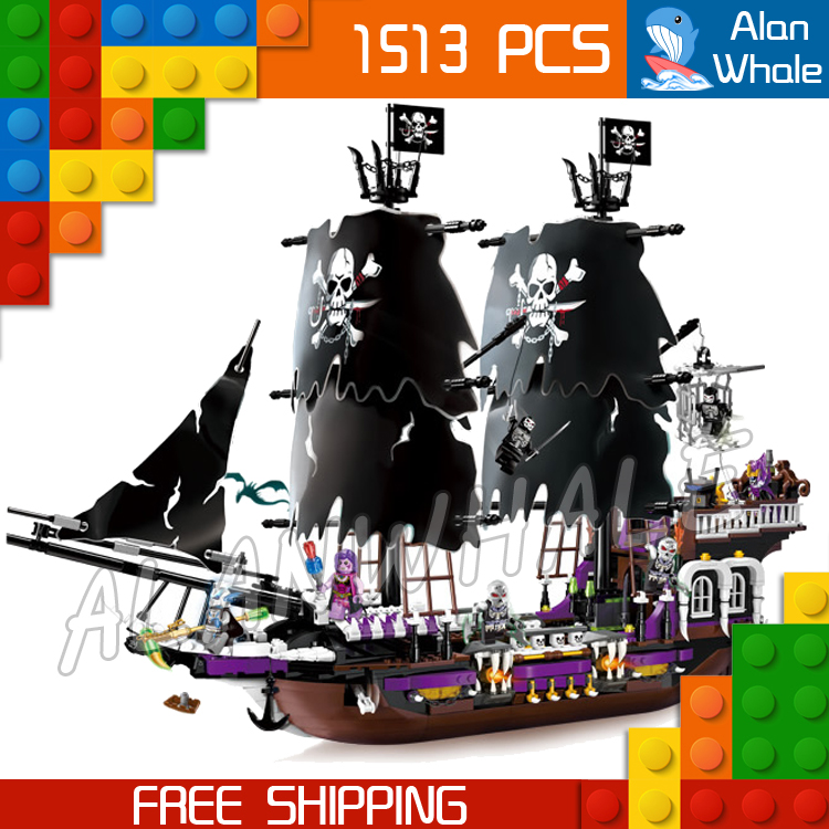 1513pcs Pirates of the Caribbean Black Pearl General Dark Ship 1313 Model Building Blocks Children Boy Toys Compatible With lego 1717pcs new 22001 pirates of the caribbean imperial flagship diy model building blocks big toys compatible with lego