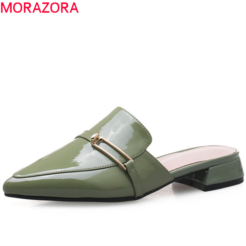 MORAZORA 2018 hot sale women sandals genuine leather ladies shoes pointed toe slip on summer shoes square heel mules shoes xiaying smile summer women sandals casual fashion lady square heel slip on flock shoes pointed toe cover heel lace bowtie shoes page 3